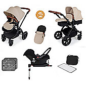Ickle Bubba Stomp V3 AIO Travel System with 2 x Isofix Base + Mosquito Net Pink (Black Chassis)