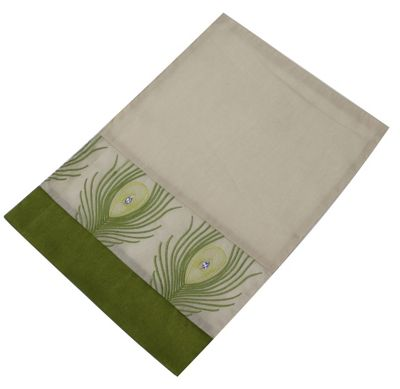 Taupe Placemat with Green Peacock Feathers