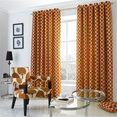 Alan Symonds Lined Oh Orange Eyelet Curtains - 66x54 Inches (168x137cm)