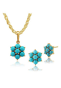 Gemondo 9ct Yellow Gold Genuine Turquoise Cabochon Cluster Stud Earring & Necklace Set