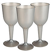 Silver Plastic Wine Glasses - 295ml - 20 Pack