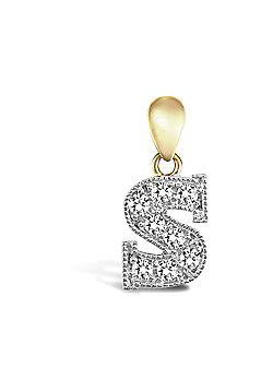 9ct Yellow Gold Cubic Zirconia Initial Charm Identity Pendant - Letter S