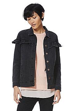 Only Frill Trim Denim Jacket - Washed black