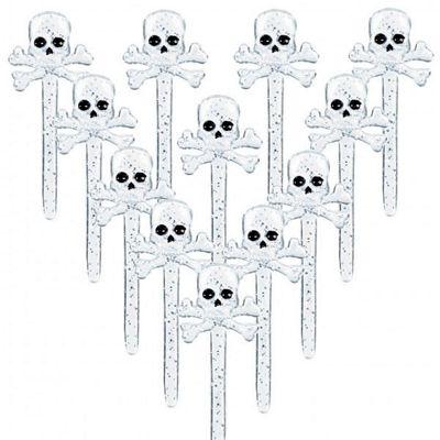 Skull & Crossbones Food Picks - 12 Pack