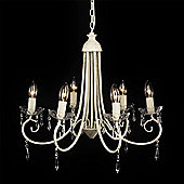 Large 6 Way Ceiling Light Chandelier, Distressed White