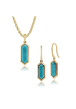 Gemondo Plated Silver Turquoise Hexagonal Prism Drop Earring & 45cm Necklace Set