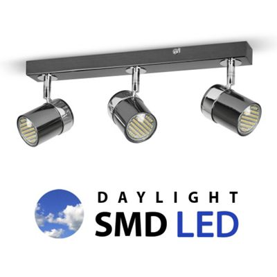 Rosie Three Way Daylight LED Ceiling Spotlight, Black Chrome and Chrome