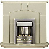 Adam Abbey Stone Effect Electric Fireplace Suite with Helios Brushed Steel Fire