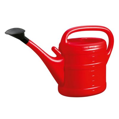 10L Red Plastic Garden Watering Can with Rose