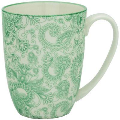 Floral Design Porcelain Tea Coffee Mug Cups Green / White 350ml