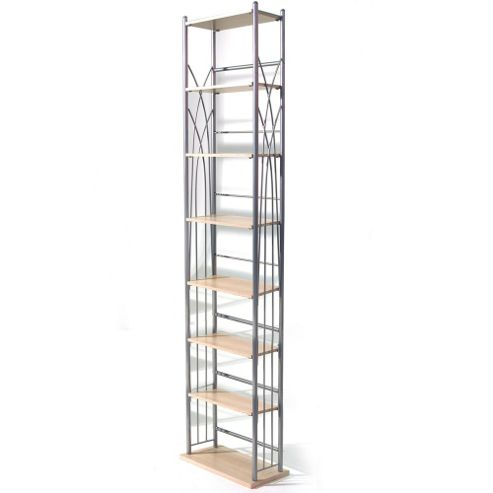 Techstyle 140 DVD / 210 CD Storage Tower Shelves - Silver