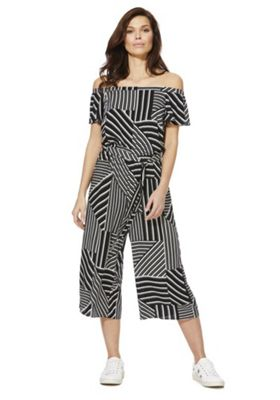 F&F Striped Bardot Culotte Jumpsuit Black/White 16