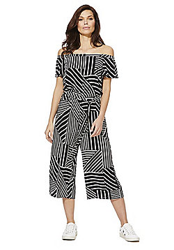 F&F Striped Bardot Culotte Jumpsuit - Black/White