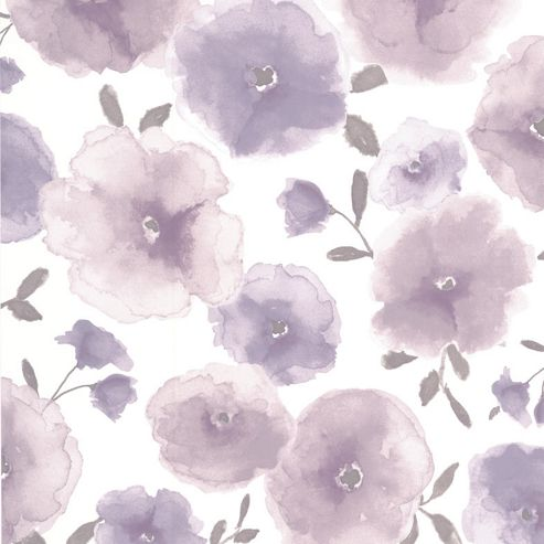 Superfresco Easy Poppies Paste The Wall Floral Purple Wallpaper
