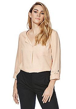 F&F Tencel® Open Collar Blouse - Blush pink