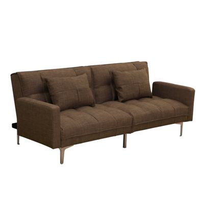 Homcom Modern Minimal Fabric Sofa Bed Recliner Convertible Couch (Coffee)
