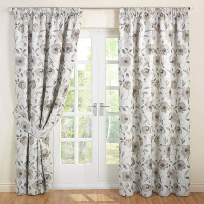 Julian Charles Carmen Natural Jacquard Lined Pencil Pleat Curtains - 90x72 Inches (229x183cm)