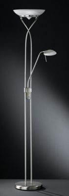 Wofi Skin Floor Lamp - Nickel - Alabaster White