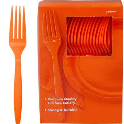 Orange Party Plastic forks - 100 Pack