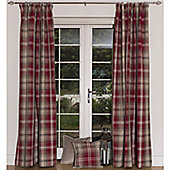 McAlister Angus Pencil Pleat Tartan Check Twill Curtains - Red