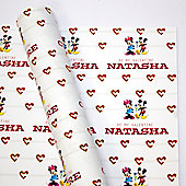 Mickey and Minnie Mouse Personalised Couples Gift Wrap 3m Roll
