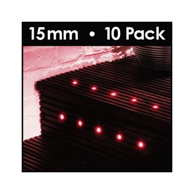 MiniSun Pack of 10 15mm LED Decking Lights in Red