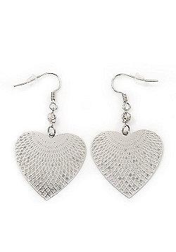 Rhodium Plated Textured 'Heart' Drop Earrings - 4.5cm Length