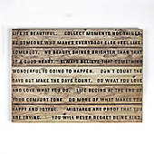 Art for Home Life is Beautiful Print on Wood