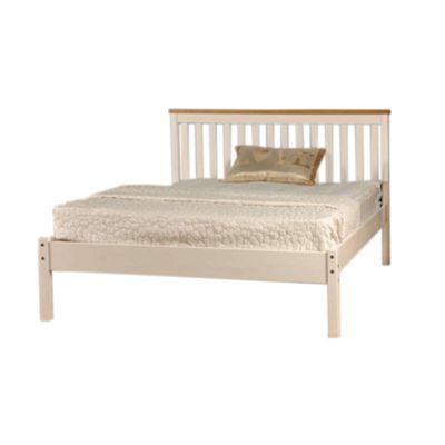 Comfy Living 5ft King Slatted Low end Bed Frame in White with Caramel Bar & Basic Budget Mattress