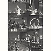 City By Night Wallpaper - Black - 97670