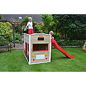 Bus Drivers Wooden Playhouse with Long Slide and Chalk Blackboard - ActivKids