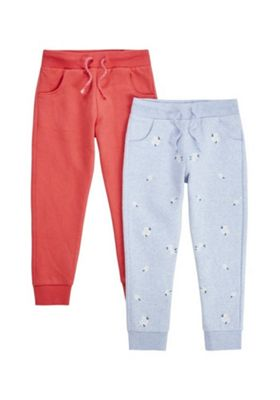 F&F 2 Pack of Daisy Print and Plain Joggers Multi 4-5 years