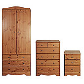 Milford Bedroom Set (Double Wardrobe with 3 Drawers, Chest of Drawers & Bedside Table), Pine