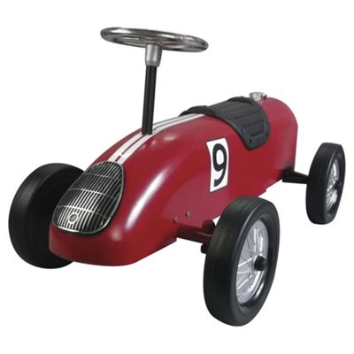 Great Gizmos Classic Retro Metal Ride-On Racing Car, Red