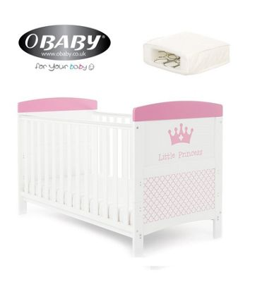 Obaby Grace Inspire Cotbed and Sprung Mattress - Little Princess