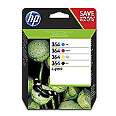 HP 364 4-pack Black/Cyan/Magenta/Yellow Printer Ink Cartridges