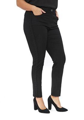 Evans Lace Side Seam Plus Size Jeans Black 26