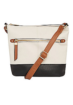 F&F Colour Block Bucket Cross-Body Bag Cream/Multi One Size