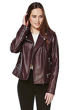 F&F Signature Leather Biker Jacket - Burgundy