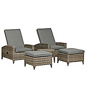 Royalcraft Windsor 5 piece Relax Lounging Set 2 Reclining Chairs with 2 Foot Stools
