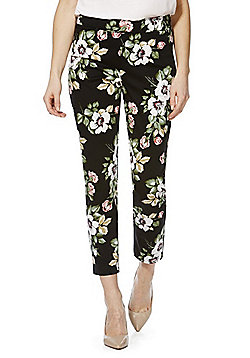 F&F Floral Print Ankle Grazer Slim Leg Trousers - Multi