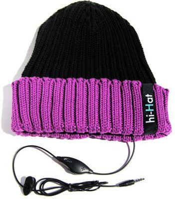 Hi-Fun Hi-Hat Earphone Hat with Mic Black/Violet/Purple