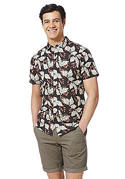 F&F Leaf Print Short Sleeve Shirt - Black Multi