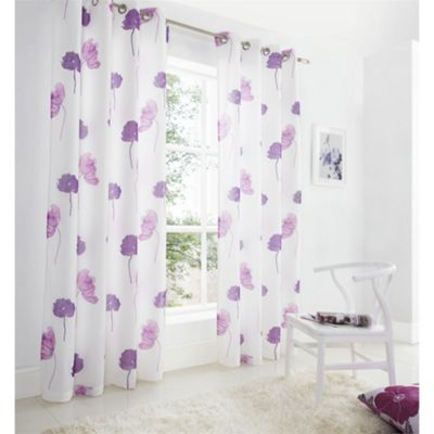 Alan Symonds Lined Tuscany Purple Eyelet Curtains - 55x72 Inches (140x183cm)