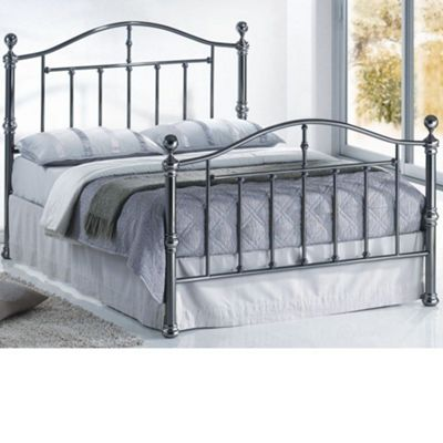 Happy Beds Victoria Metal High Foot End Bed with Open Coil Spring Mattress - Nickel - 5ft King