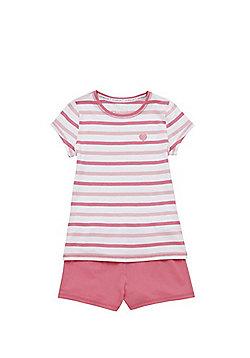 F&F Stripe Heart Motif Pyjamas - Pink