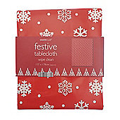 Country Club PVC Tablecloth, Red Snowflake