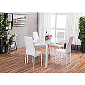 Roma White Glass Dining Table With Four Montero Chairs