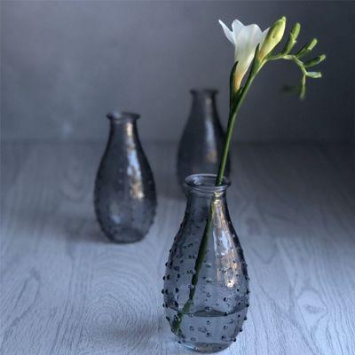 Set of Three Smokey Grey Dimple Vases