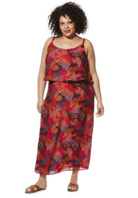 Simply Be Paisley Print Plus Size Maxi Dress Red Multi 16